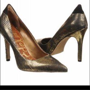 Sam Edelman Black Gold Metallic Leather Heel 8.5